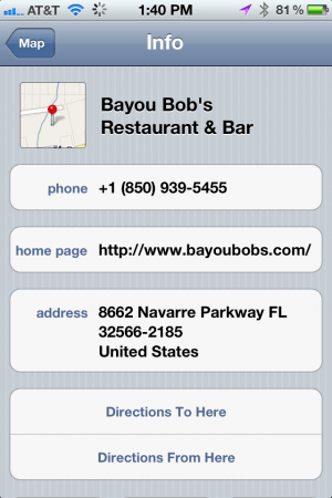 Location Page in Maps for iPhone
