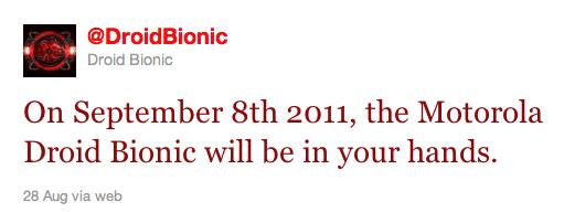 Motorola Droid Bionic Release Date