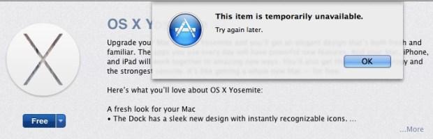OS X Yosemite download errors appear.