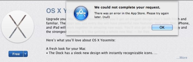 There are already some OS X Yosemite download problems.
