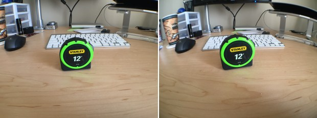 Left: Olloclip's wide-angle lens. Right: ExoLens' wide-angle lens.