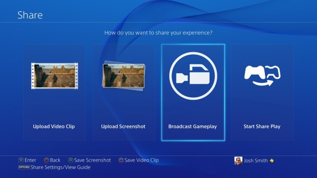 Record video on the PS4 using the Share button.
