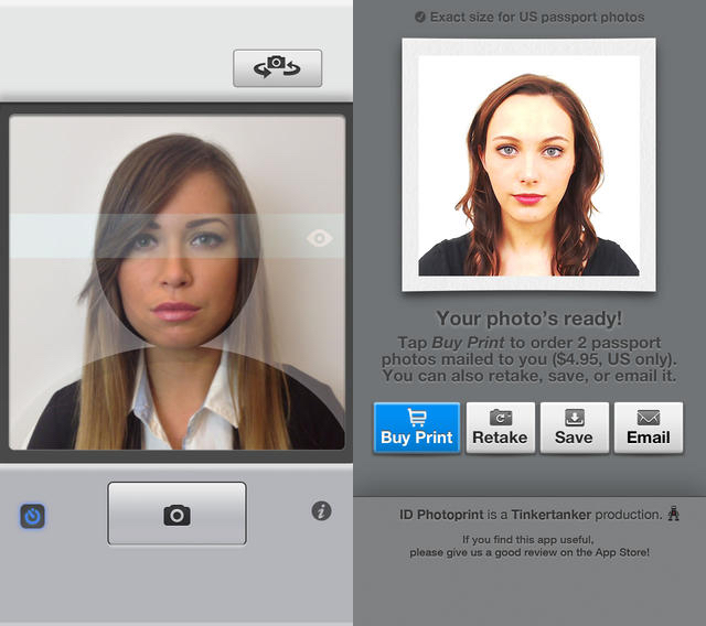 The iPhone passport photo app helps you compose the photo correctly.