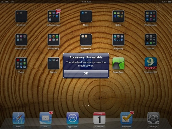 Error Message when plugging Flip Ultra HD directly into iPad 2