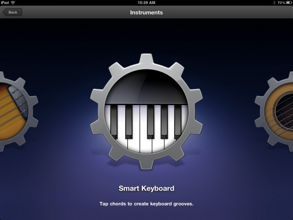 Instrument Selection Screen in GarageBand for iPad