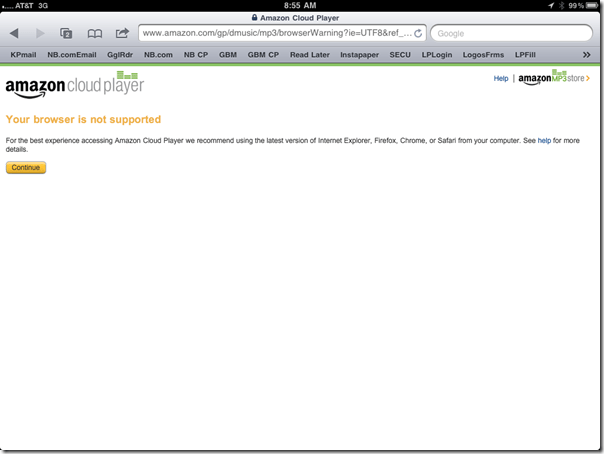 Amazon Cloud Player Error Page in Safari