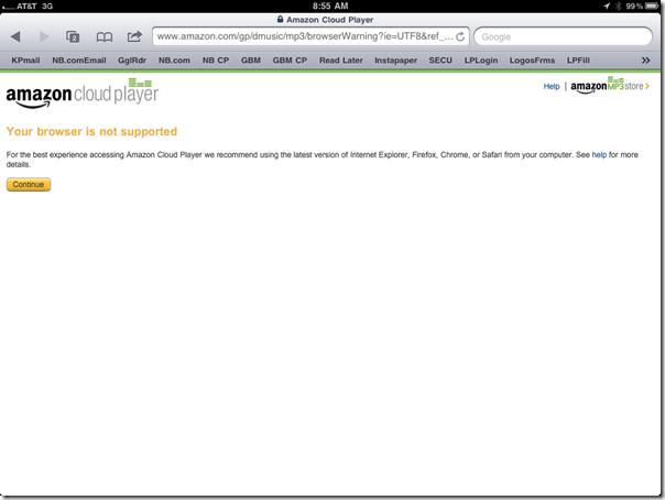 Amazon Cloud Player Error Page in Safari