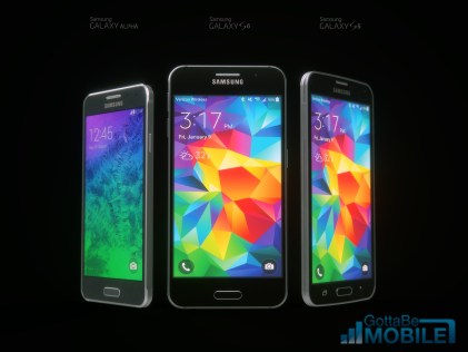 Galaxy Alpha vs. Galaxy S6 concept vs. Galaxy S5.