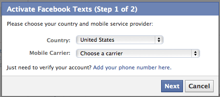 How to update Facebook via Text