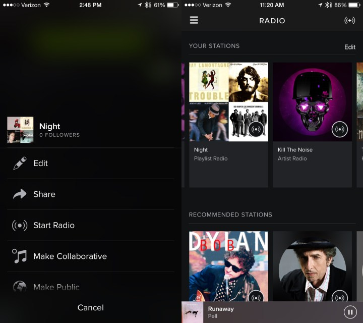 Create radio from a Spotify playlist.