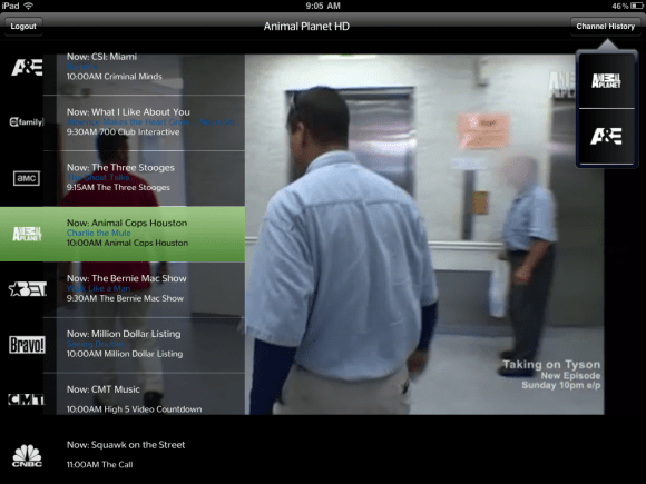 TW Cable iPad App Channel history and Guide