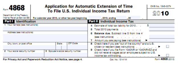 Tax extension IRS Form 4868