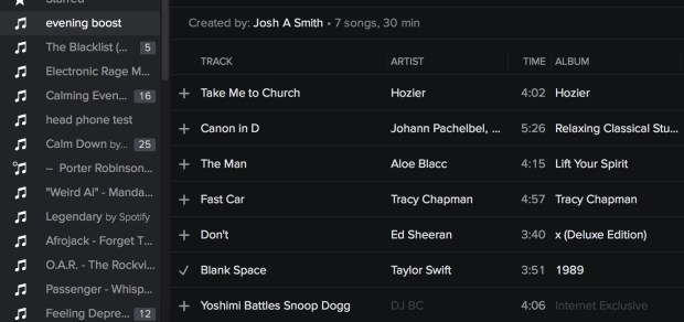 Add Taylor Swift to a Spotify playlist.