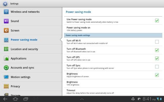 TouchWiz Settings Screen Galaxy Tab