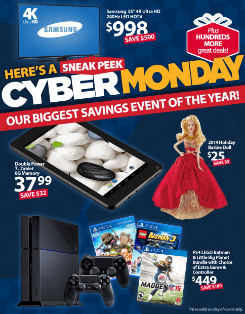 You can check out a sneak peak at the Walmart Cyber Monday deals.