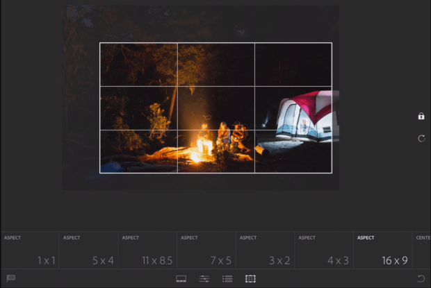 cropping in adobe lightroom mobile for android