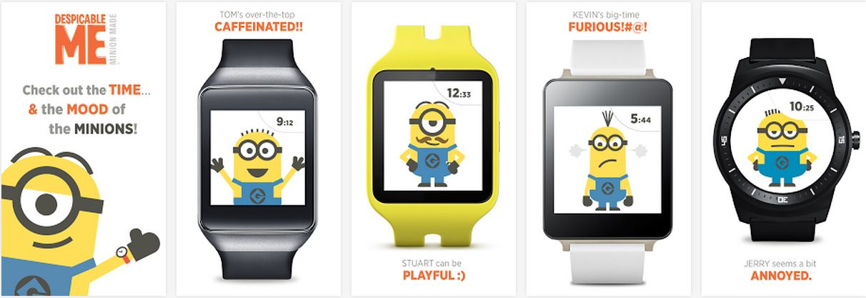 20 great android wear watch faces for Despicable watches