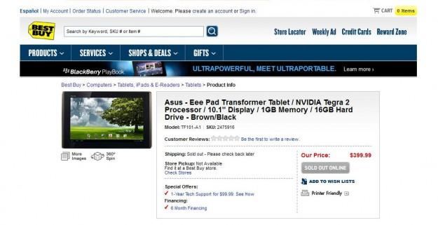 ASUS Eee Pad Transformer at Best Buy