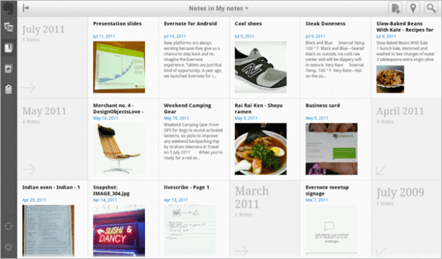 evernote tablet homescreen