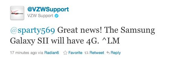 Galaxy S II Tweet