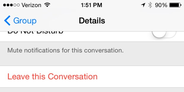 Leave a group iMessage thread in iOS 8.