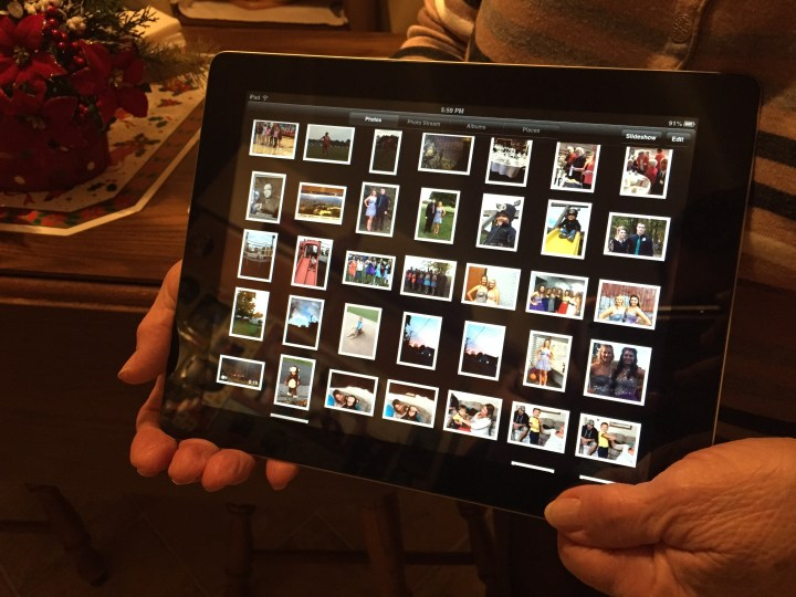 The fixed iPad 2, like new and back in Grandma's hands.