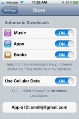 iPhone 4S Settings - Automatic App Downloads