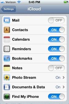 iPhone 4S iCloud Settings