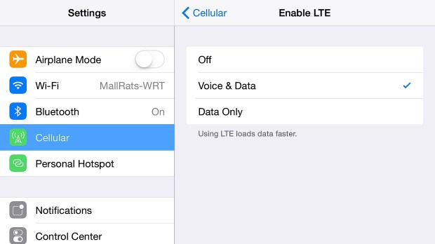 Enable VoLTE on the iPhone 6 Plus.
