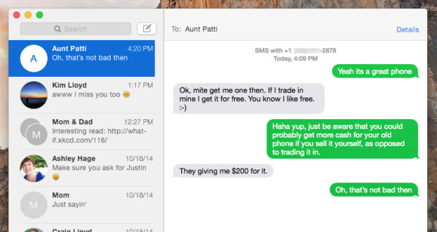 Send texts from your Mac through your iPhone 6 Plus.