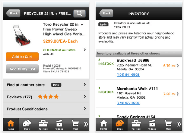 iPhone DIY shopping apps