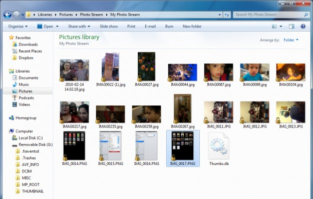 My Photo Stream folder on Windows 7