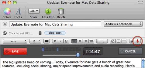 Evernote Audio Note