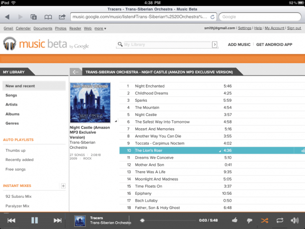 Google Music on iPad