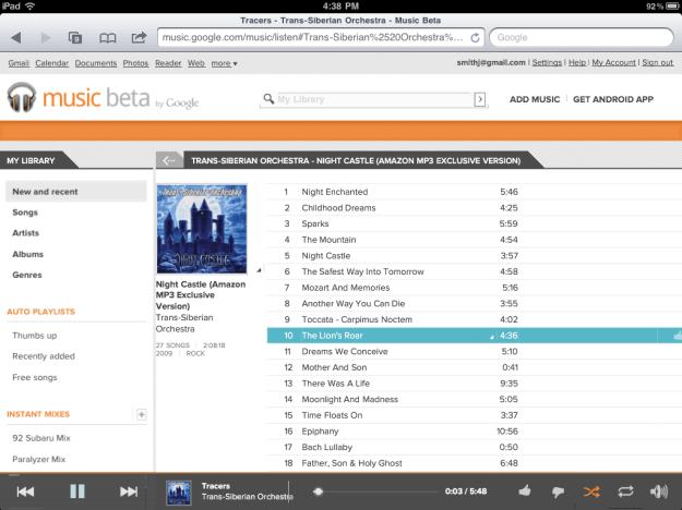 Google Music on iPad