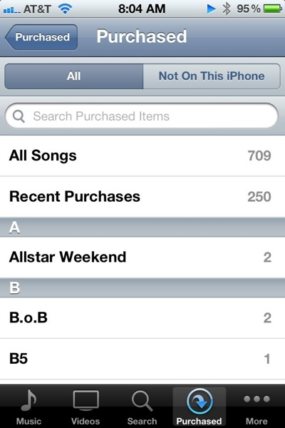 Purchased Songs on iOS iTunes