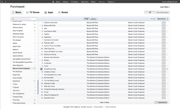 Purchased screen in iTunes