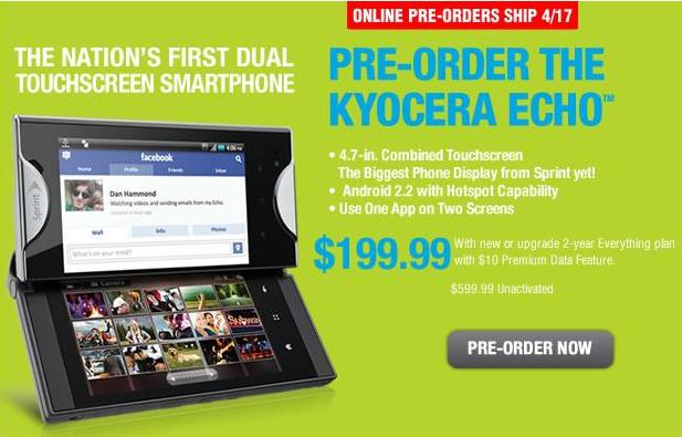 Kyocera Echo Pre-Order