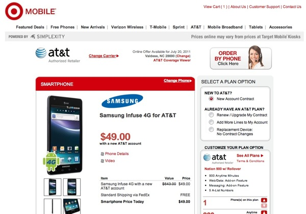 Samsung Infuse 4G at Target for $50