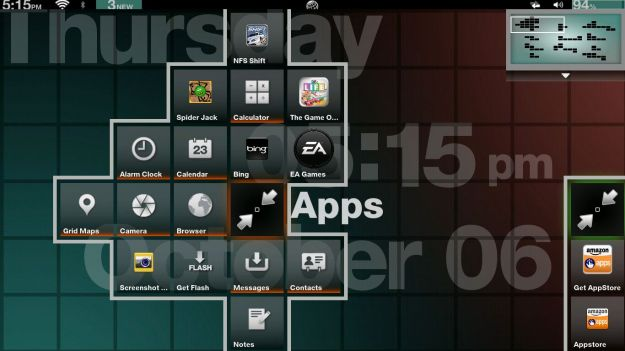 GridOS Home screen