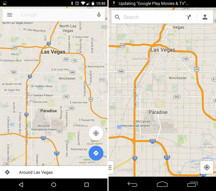 Android 5.0 vs Android 4.4 - Maps