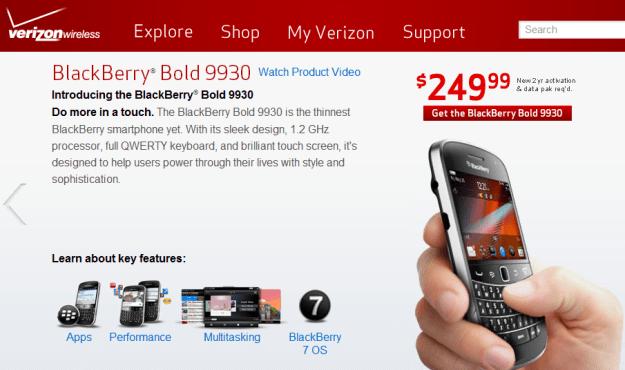 BlackBerry 9930 Now Available on Verizon