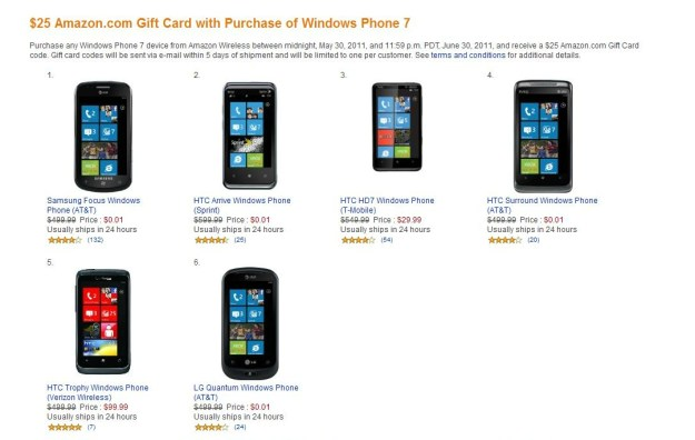 Windows Phone 7 at Amazon