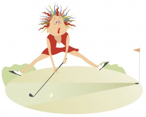 Image of woman golfing badly