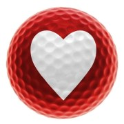 Image of red golf ball with heart