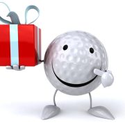 Image of smiling golf ball holding a gift