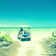 Image of golf cart on beach