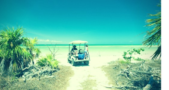 Image of golf cart on beach