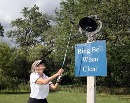image of lin ringing bell