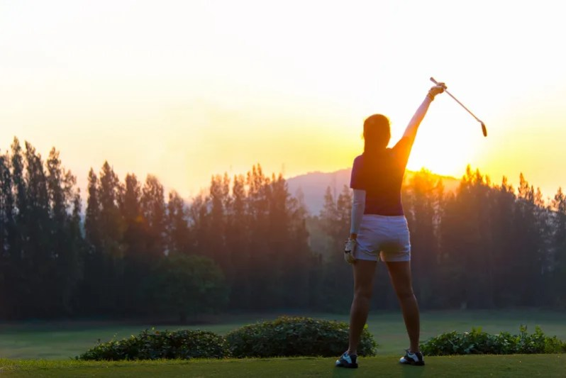 Image of woman alone on course